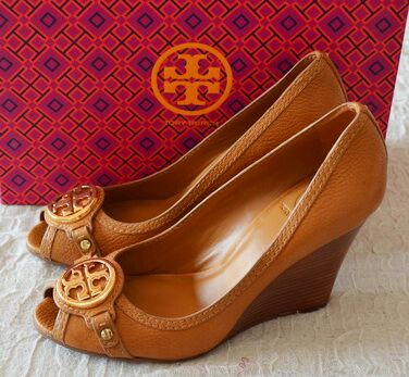 2fe87aed48f0 Ready stock – Tory Burch Leticia 95mm Wedge-Tumbled Leather Tan IDR  4.000.000 ( Size 8-8